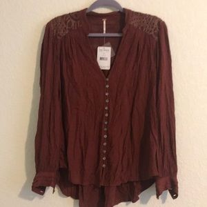 NWT free People rust blouse medium